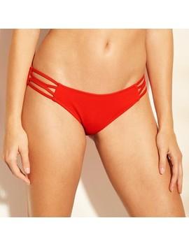 Women's Sun Coast Cheeky Strappy Ribbed Bikini Bottom   Shade &Amp; Shore Red by Shade & Shore Red