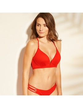 Women's Dream Lightly Lined V Wire Ribbed Bikini Top   Shade &Amp; Shore Red by Shade & Shore Red