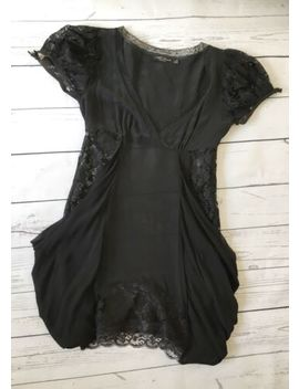 All Saints 8 Sheer Black Silk Top Gothic Lolita Lace by All Saints
