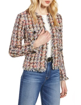 Raw Edge Cotton Blend Tweed Jacket by Halogen®