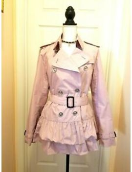 Women Burberry Ruffle Coat Pink Double Breast Belted Sz.48 (Ita) 14(Us) Xl by Burberry London
