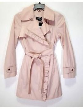 Karl Lagerfeld Paris Womens Ruffle Trim Pink Trench Coat Size S by Karl Lagerfeld