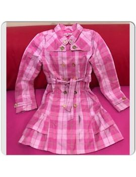 Juicy Couture Pink Plaid Ruffle Trench Coat Size 12 by Juicy Couture