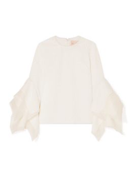 Tulle Trimmed Crepe Top by Roksanda
