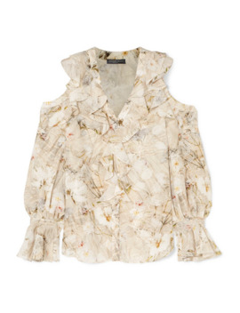 Cold Shoulder Ruffled Floral Print Silk Blouse by Alexander Mc Queen