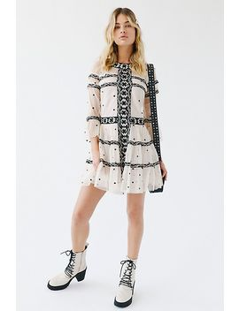 Cameryn Embroidered Mesh Mini Dress by Ranna Gill