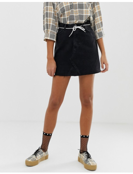 Monki Denim Mini Skirt With Organic Cotton In Black by Monki