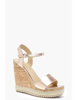 Metallic Stud And Plait Cork Wedges by Boohoo