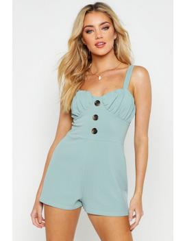 Button Cropped Playsuit by Boohoo