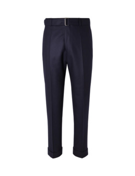 Navy Ollie Tapered Cropped Belted Wool Flannel Trousers by Officine Generale