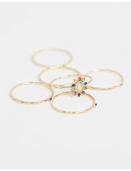 Aldo Firacia Multi Pack Delicate Colored Gem Rings In Gold by Aldo