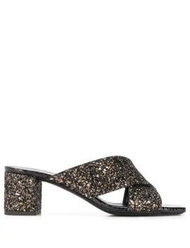 Loulou Glittered Sandals by Saint Laurent