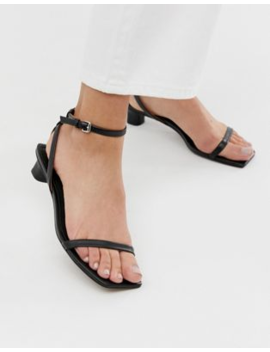 &Amp; Other Stories Square Toe Kitten Heels Sandals In Black by & Other Stories