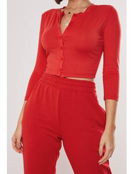 Red Button Front Long Sleeve Crop Top by Missguided