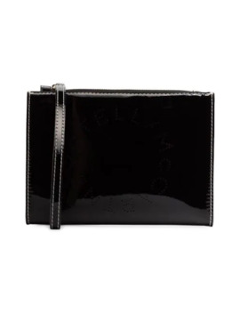 Black Logo Print Faux Leather Zip Clutch Bag by Stella Mc Cartney