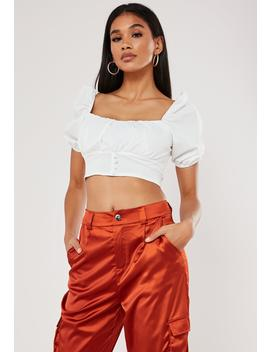White Milkmaid Puff Sleeve Crop Top by Missguided