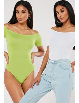 Lime And White Short Sleeve Bardot Bodysuits 2 Pack by Missguided
