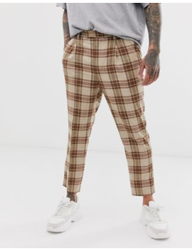 Asos Design Tapered Crop Smart Trousers In Linen Brown Linen Look Check by Asos Design