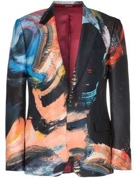 Painters Canvas Print Single Breasted Wool Silk Blend Blazer by Alexander Mc Queen
