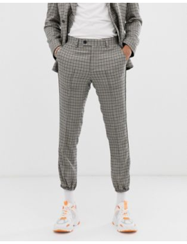 Asos Design Skinny Crop Jogger Suit Trousers In Stone With Green And Blue Houndstooth by Asos Design