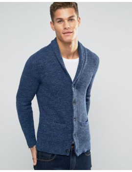 Abercrombie &Amp; Fitch Shawl Cardigan Heavy Rib Knit In Navy by Abercrombie & Fitch