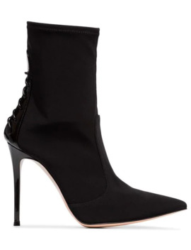 Black 105 Lace Up Leather And Neoprene Boots by Gianvito Rossi