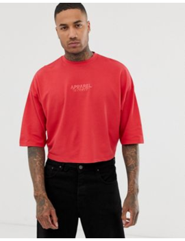 Asos Design Oversized Crop T Shirt With City Embroidery In Pique by Asos Design