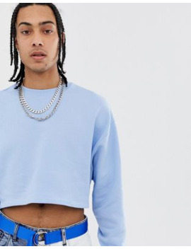Asos Design Oversized Cropped Sweatshirt In Blue by Asos Design