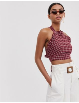 Fashion Union Ruffle Front Crop Top With Cross Back In Check by Fashion Union
