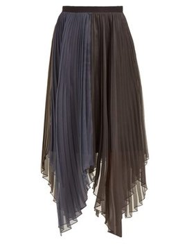 Pleated Organza Voile Midi Skirt by Marina Moscone