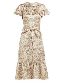 The La Floral Print Silk Satin Midi Dress by The Vampire's Wife