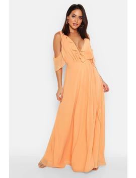Chiffon Frill Cold Shoulder Wrap Maxi Dress by Boohoo