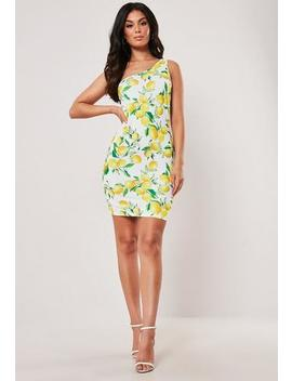 Yellow Lemon Print Double Strap One Shoulder Mini Dress by Missguided