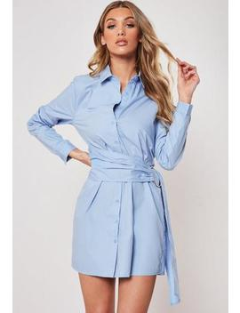 Blue Poplin Belted Shirt Dress by Missguided