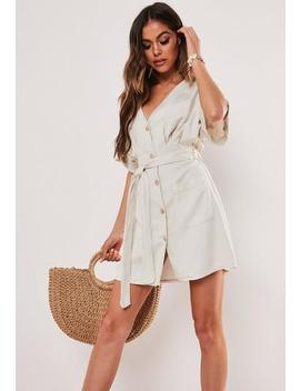 Sand Belted Button Front Dress by Missguided
