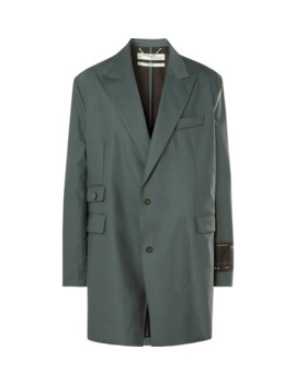 Grey Green Oversized Virgin Wool Blend Suit Jacket by Off White