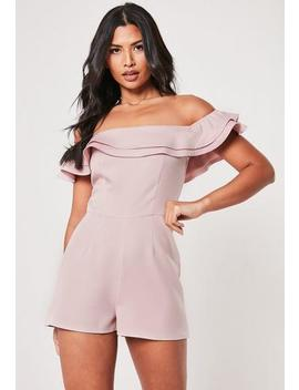 Blush Bardot Ruffle Tailored Playsuit by Missguided