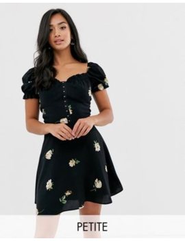 River Island Petite Puff Sleeve Dress In Black by River Island Petite