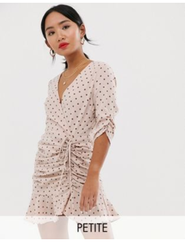 Outrageous Fortune Petite Ruched Tie Front Mini Skater Dress With Fluted Hem In Pink Polka Print by Outrageous Fortune