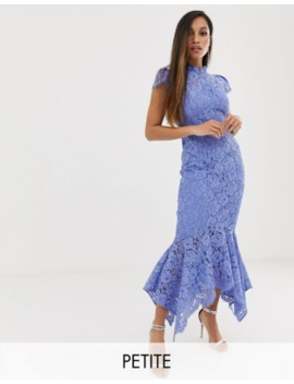 Forever New Petite Lace Maxi Dress With Fishtail Hem In Blue by Forever New