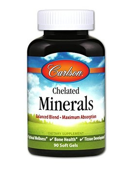 Carlson   Chelated Minerals, Balanced Blend   Maximum Absorption, Optimal Wellness, Bone Health & Tissue Development, 90 Soft Gels by Carlson