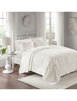 White Amber Cotton Chenille Bedspread Set by Shop This Collection