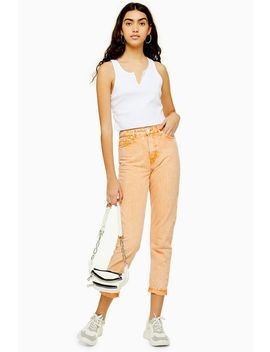 Orange Acid Wash Mom Jeans by Topshop