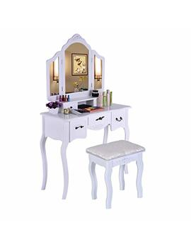 Beyonds White Luxury Dressing Table With 3 Mirror And Solid Wood Stool,90° Rotation Detachable Mirror,5 Drawers Adjustable Vanity Table Set Makeup Dresser by Beyonds Dressing Table