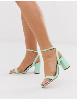 Asos Design Hong Kong Barely There Block Heeled Sandals In Mint by Asos Design