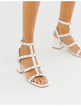 Public Desire Always White Studded Mid Heeled Sandals by Public Desire