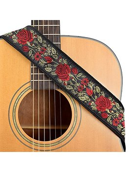 Cloudmusic Guitar Strap Jacquard Weave Strap With Leather Ends Vintage Classical Pattern Design Guitar Picks Free (Golden Rose) by Cloudmusic