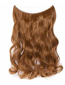 Hair Extensions No Clip Invisible Wire Adjustable Secret Rubber Band Hairpiece Real Natural Human Made Synthetic Fibre Hair 20 Inch 90 G Curly Coffee Brown Mix Light Auburn by S Noilite