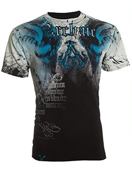 Affliction  Archaic Mens T Shirt Nightwatcher Skulls Black Blue Biker Mma by Affliction