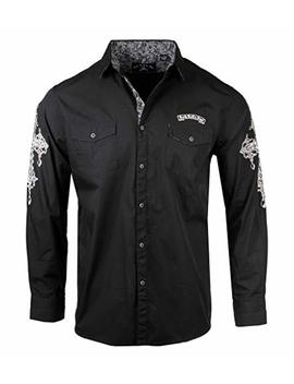 Men's 'rebel Yell' Embroidered Long Sleeve Button Down Black Shirt 718 B by Rock Roll N Soul